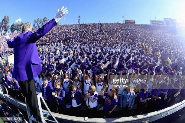 Washington Huskies cheerleaders and band members during the Rose Bowl Game presented by Northwestern Mutual at the Rose Bowl on January 1, 2019 in...