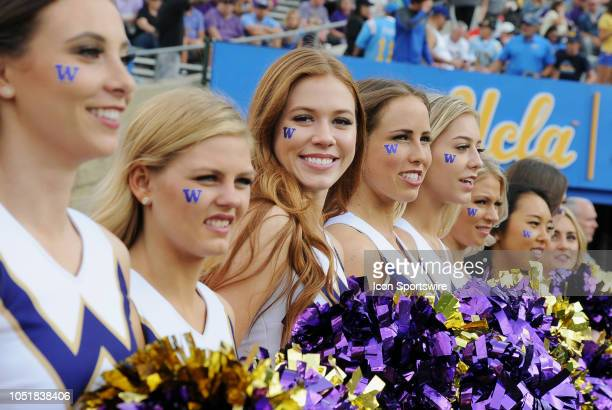 Washington Huskies cheerleaders on the field before the start of a game against the UCLA Bruins played on October 6 2018 at the Rose Bowl in Pasadena...