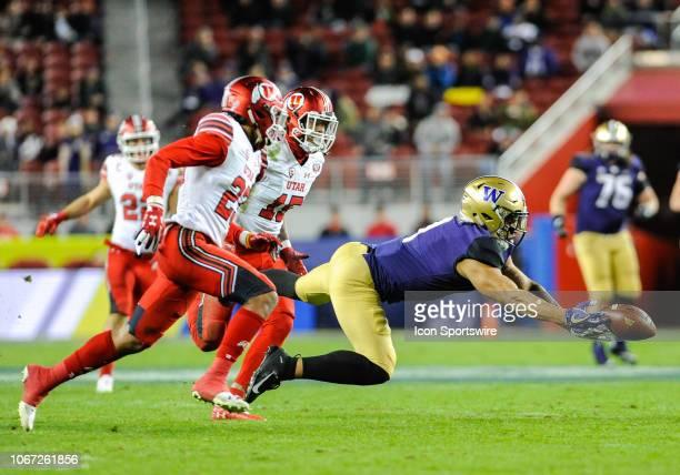 Washington Huskies defensive back Byron Murphy stretches out his hands to try to catch a ball during the Pac12 Championship Game between the...
