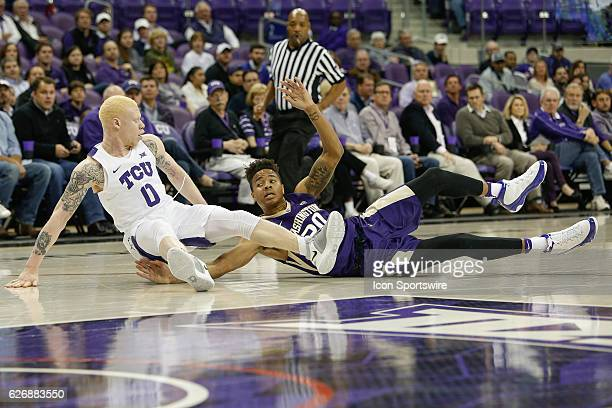 Washington Huskies guard Markelle Fultz and TCU Horned Frogs guard Jaylen Fisher battle for a loose ball during the NCAA Basketball game between the...