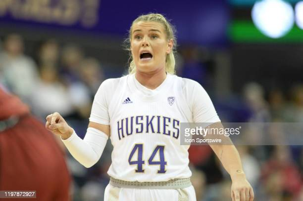 Washington Huskies guard Missy Peterson calls out a defensive play during a PAC12 conference game between the Stanford Cardinal and the Washington...