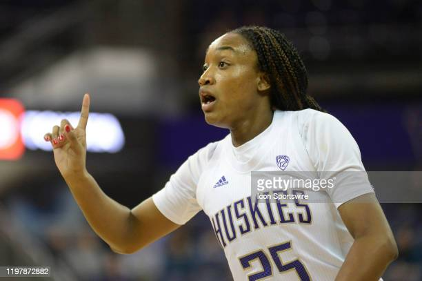 Washington Huskies guard T.T. Watkins calls a play to the defense during a PAC12 conference game between the Stanford Cardinal and the Washington...