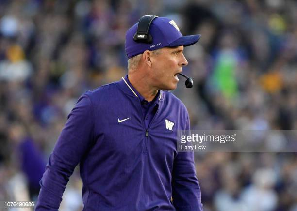 Washington Huskies head coach Chris Petersen calls a play during the second half in the Rose Bowl Game presented by Northwestern Mutual at the Rose...