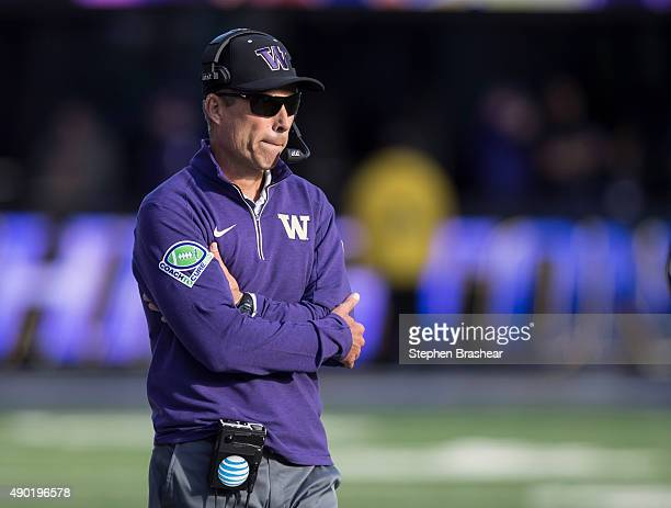 Washington Huskies head coach Chris Petersen walks the sidelines during the second half of a game at Husky Stadium on September 26 2015 in Seattle...