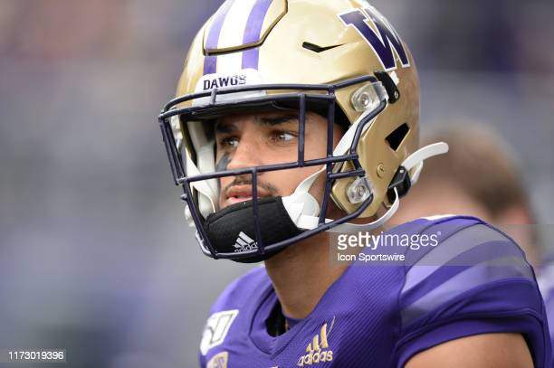 Washington Huskies wide receiver Aaron Fuller looks on before a PAC12 Conference game between the Washington Huskies and the USC Trojans on September...