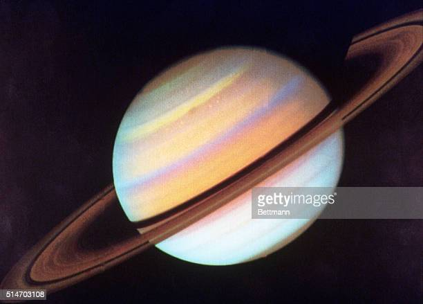 Image of Saturn taken by the Voyager Spacecraft at a distance of 211 million miles Color enhanced by NASA