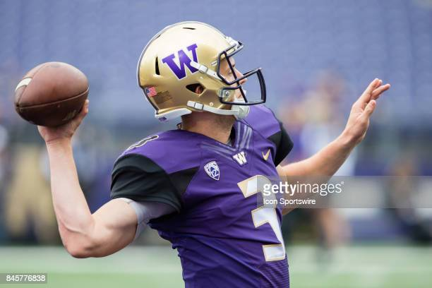 Washington Jake Browning warms up his arm before a college football game between the Washington Huskies and the Montana Grizzlies on September 9 2017...