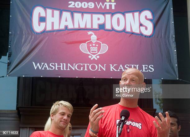 Washington Kastles coach Murphy Jensen speaks during a press conference at the John A Wilson Building after receiving a key to the city and a fan...
