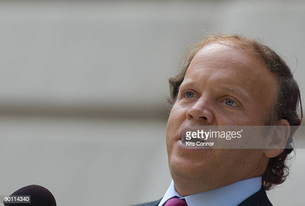 Washington Kastles owner Mark Ein speaks during a press conference outside the John A Wilson building after receiving a key to the city and a fan...