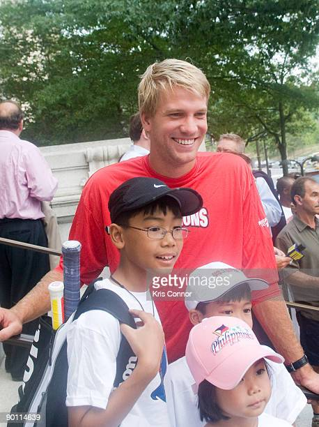 Washington Kastles player Scott Oudsema poses for a photo during a press conference at the John A Wilson Building after receiving a key to the city...