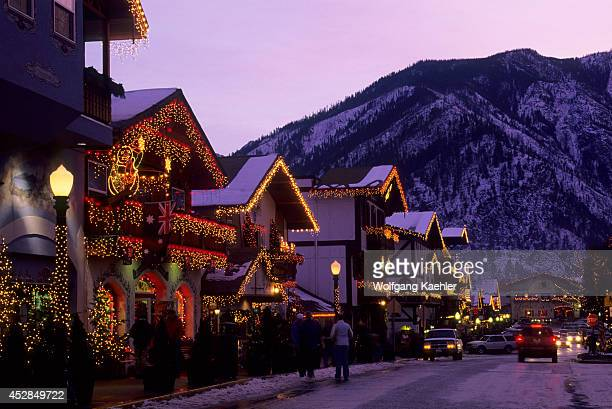 USA Washington Leavenworth In Winter Street Scene With Holiday Lights Evening