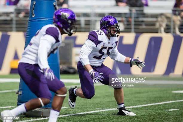 Washington linebacker Ryan Bowman goes through an agility drill before the University of Washington Spring Game at Husky Stadium on Saturday April 21...