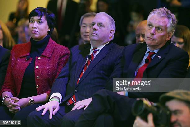 Washington Mayor Muriel Bowser Maryland Gov Larry Hogan Virginia Gov Terry McAuliffe participate in the opening ceremony of the Washington Post's new...