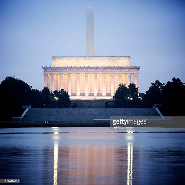 Washington Monument and Lincoln Memorial reflecting in the Potomac River