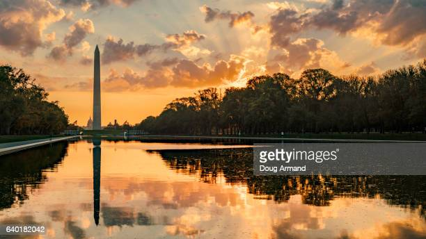 washington monument and lincoln memorial reflecting pool, washington d.c, usa at sunrise - national monument stock pictures, royalty-free photos & images