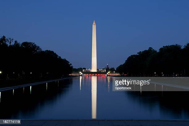 washington monument and reflecting pool - national monument stock pictures, royalty-free photos & images