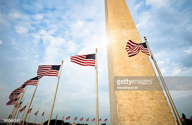 Washington Monument and US flag