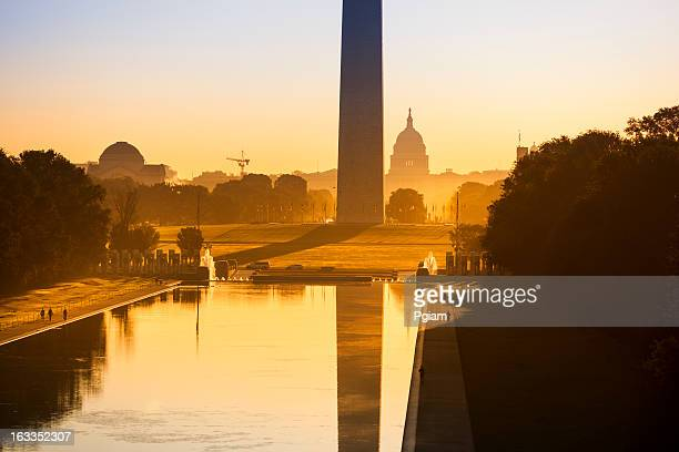 washington monument from the lincoln memorial - reflecting pool stock pictures, royalty-free photos & images