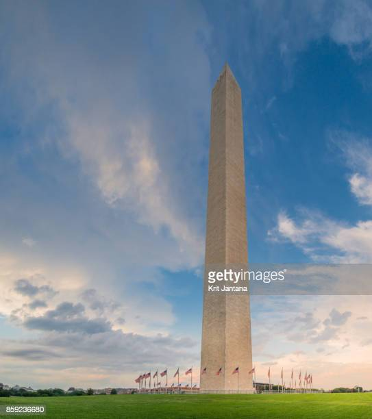 Washington monument with dramatic sky