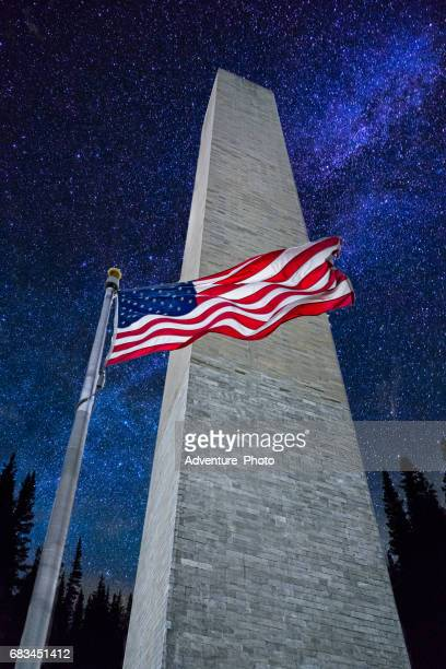 washington monument with stars and milky way - national monument stock pictures, royalty-free photos & images