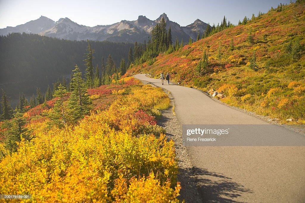 USA, Washington, Mount Rainier National Park, mature couple on trail : Stock Photo