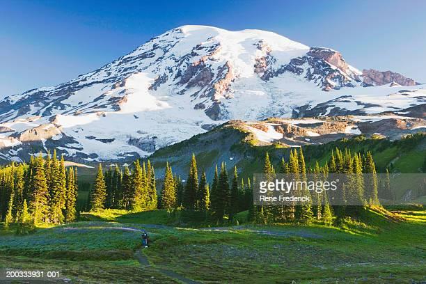 USA, Washington, Mount Rainier National Park, people hiking on trail