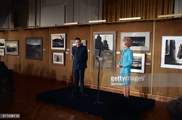Mrs Richard Nixon opens an exhibit by famed artist Andrew Wyeth at the White House Wyeth is the first artist to be honored with a special White House...
