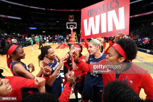 Washington Mystics celebrate after winningthe game against the New York Liberty 8077 on June 28 2018 at Capital One Arena in Washington DC NOTE TO...