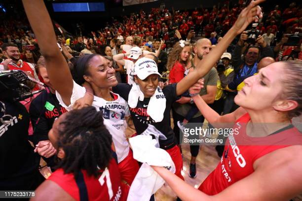Washington Mystics celebrates after winning the 2019 WNBA Finals against the Connecticut Sun during Game Five of the 2019 WNBA Finals on October 10...