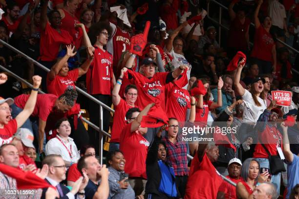 Washington Mystics fans cheer during the game against the Seattle Storm during Game Three of the 2018 WNBA Finals on September 12 2018 at Eaglebank...