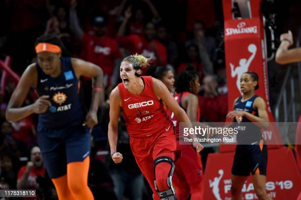 Washington Mystics forward Elena Delle Donne celebrates late in the game at the Entertainment and Sports Arena for the WNBA Championship title...