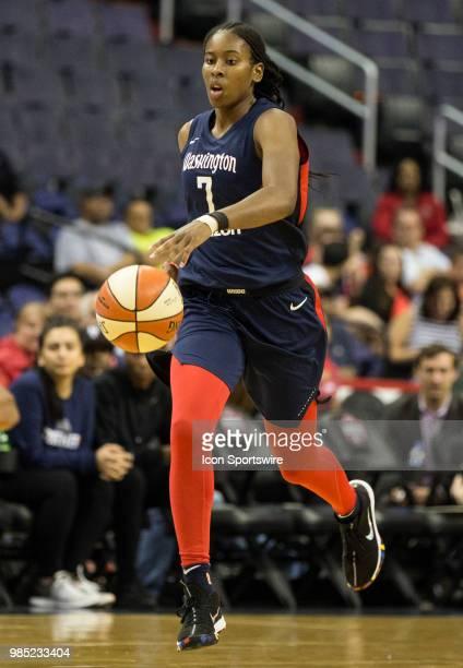 Washington Mystics guard Ariel Atkins moves up court during a WNBA game between the Washington Mystics and the Connecticut Sun on June 26 at Capital...