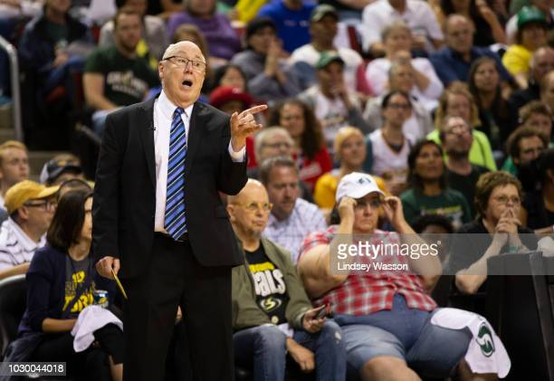 Washington Mystics head coach Mike Thibault yells from the bench during the first half of Game 2 of the WNBA Finals against the Seattle Storm at...