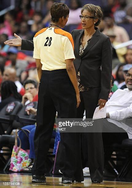 Washington Mystics head coach Trudi Lacey argues with a referee about a technical foul call against Washington Mystics forward Crystal Langhorne not...