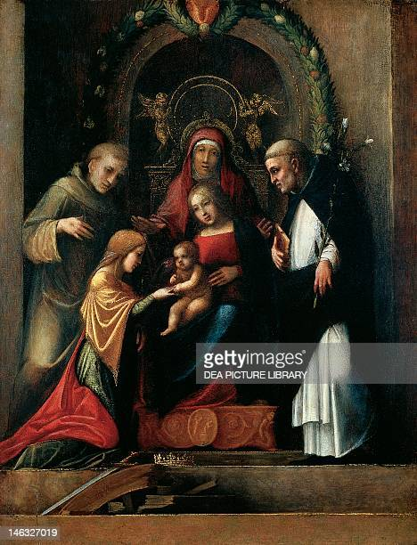 Washington National Gallery Of Art The Mystic Marriage of St Catherine of Alexandria and Saints 15101511 by Antonio Allegri known as Correggio Oil on...