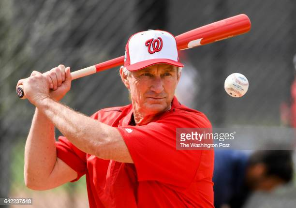 Washington Nationals bench coach Chris Speier hits infield practice at the Ballpark of the Palm Beaches in West Palm Beach Fl on February 16 2017