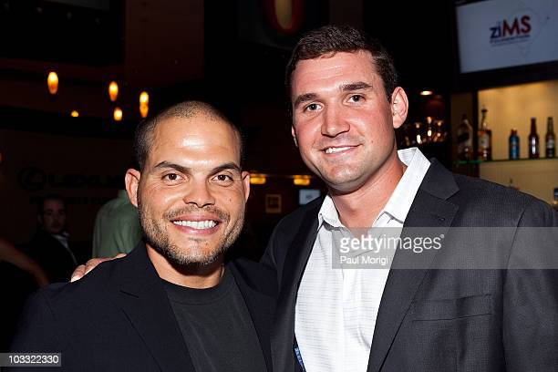 Washington Nationals Catcher Ivan Pudge Rodriguez and Washington Nationals Third Baseman Ryan Zimmerman pose for a photo at A Night At The Park to...