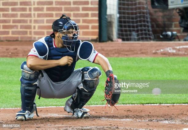 Washington Nationals catcher Pedro Severino snaps up a pitch during a MLB game on May 30 between the Baltimore Orioles and the Washington Nationals...