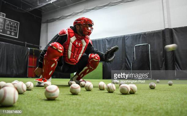 Washington Nationals catcher Spencer Kieboom works out at The Hood Baseball training facility