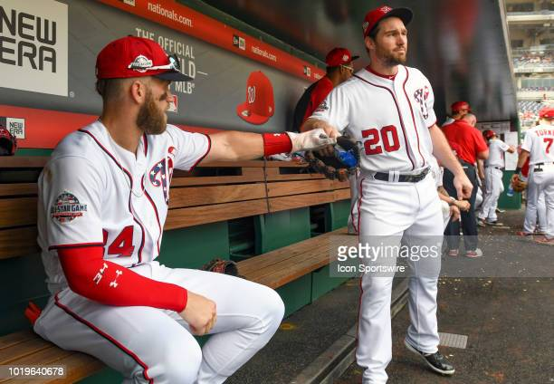 Washington Nationals center fielder Bryce Harper and second baseman Daniel Murphy share a bag of sunflower seeds in the dugout during the game...