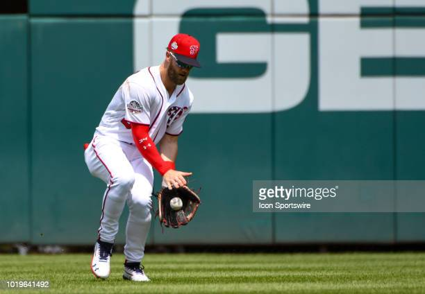 Washington Nationals center fielder Bryce Harper fields an RBI single in the third inning during the game between the Miami Marlins and the...
