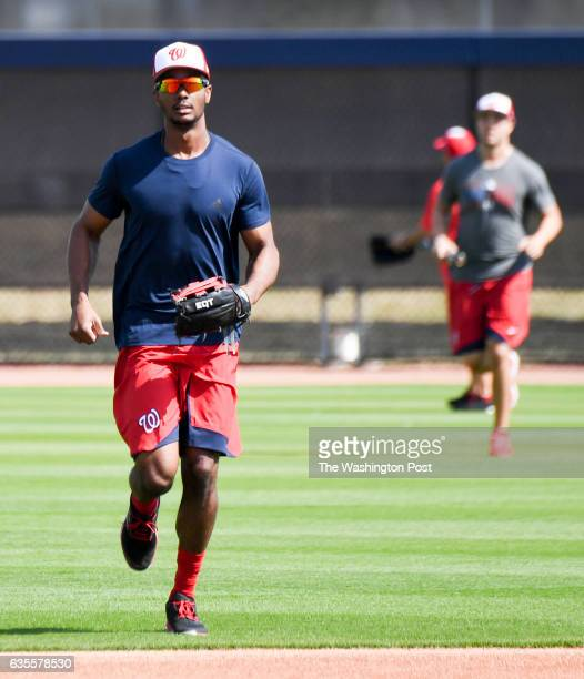 Washington Nationals center fielder Michael Taylor runs in for batting practice at the Ballpark of the Palm Beaches in West Palm Beach Fl on February...