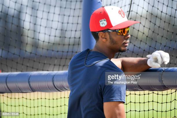 Washington Nationals center fielder Michael Taylor takes batting practice at the Ballpark of the Palm Beaches in West Palm Beach Fl on February 15...