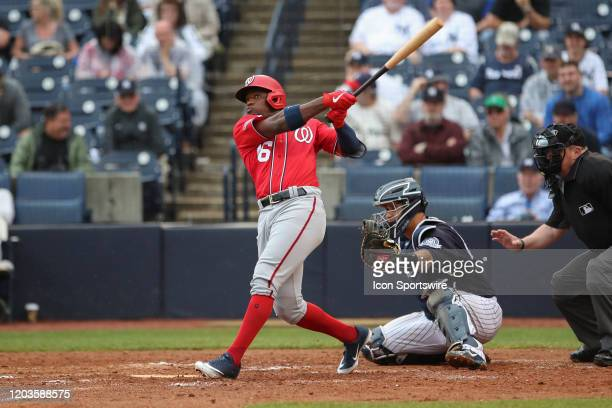 Washington Nationals center fielder Victor Robles at bat during the MLB Spring Training game between the Washington Nationals and New York Yankees on...
