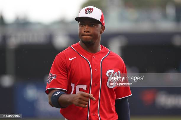 Washington Nationals center fielder Victor Robles during the MLB Spring Training game between the Washington Nationals and New York Yankees on...