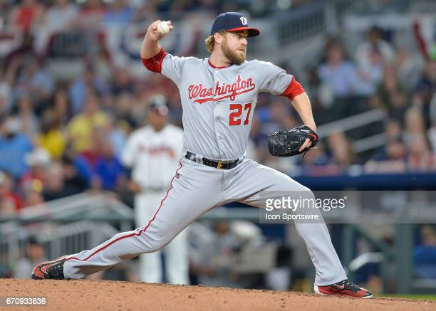 Washington Nationals closer Shawn Kelley throws a pitch fin the ninth inning during a game between the Atlanta Braves and Washington Nationals on...