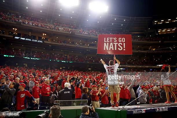 Washington Nationals fans cheer prior to the start of Game 5 of NLDS against the Los Angeles Dodgers at Nationals Park on Thursday October 13 2016 in...