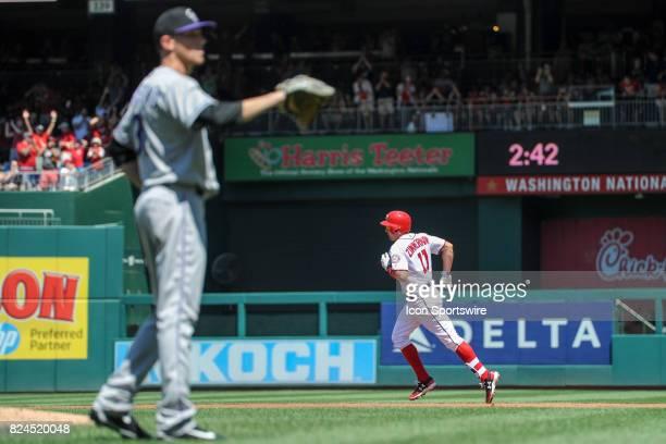 Washington Nationals first baseman Ryan Zimmerman circles the bases after hitting a three run home run off of Colorado Rockies starting pitcher Kyle...