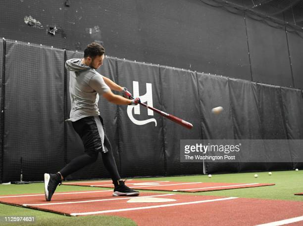 Washington Nationals first round draft pick Carter Kieboom takes batting practice at The Hood baseball training facility