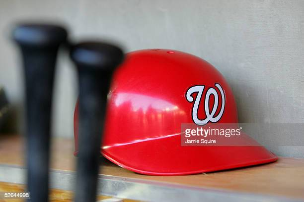 Washington Nationals' helmet sits on a benc in the dugout before the teams home opener against Arizona Diamondbacks on April 14 2005 at RFK Stadium...